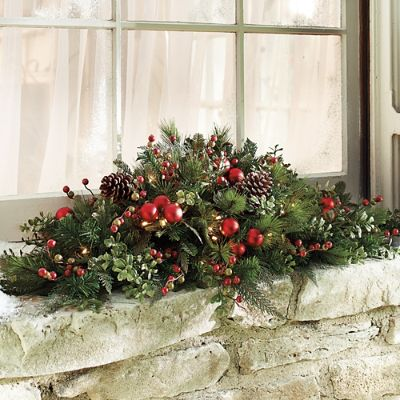 Outdoor Christmas Window Swags.Set Of Two Mackinley Cordless Window Swags