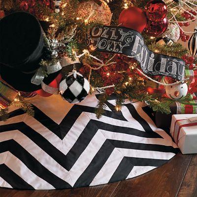 chevron black and white tree skirt grandin road - Black Christmas Tree Skirt