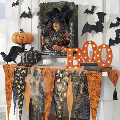 bewitching halloween mantel scarf grandin road