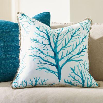 Gulf Shore Blue Coral Throw Pillow Grandin Road