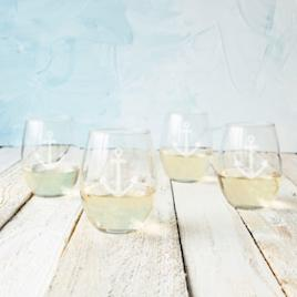1aa7fd5df4bd Personalized Gold Rim Stemless Wine Glasses