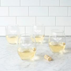 Bee Thankful Stemless Wine Glasses, Set of Four