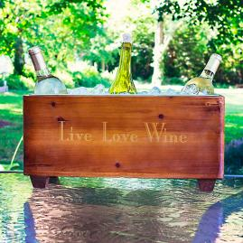 Live Love Wine Wooden Trough