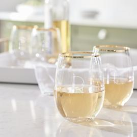 Personalized Gold Rim Stemless Wine Glasses, Set of