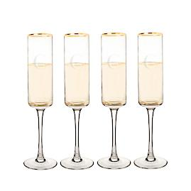 Personalized Gold Rim Flutes, Set of Four