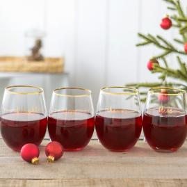 Holiday Bliss Stemless Wine Glasses, Set of Four