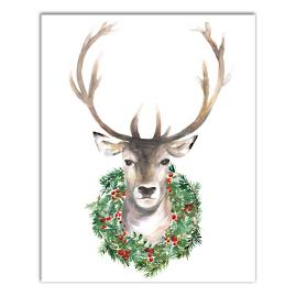 Reindeer with Wreath Canvas