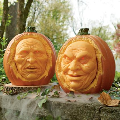 SET OF TWO ANIMATED INTERACTIVE JACK-O-LANTERNS