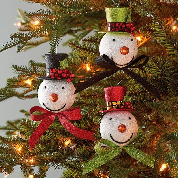 Christmas Top Hat Ornaments.Top Hat Snowmen Ornaments Set Of Six Grandin Road