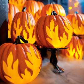 Flame Lighted Pumpkins