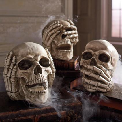 no evil skulls set of three grandin road