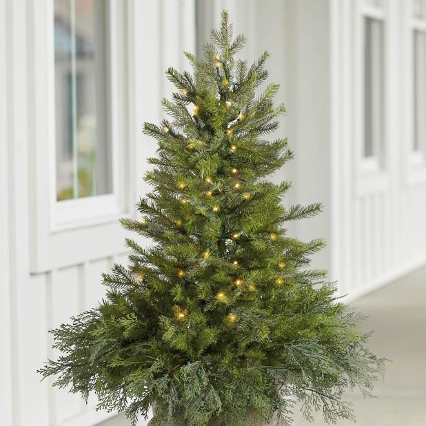 Christmas Tree Fillers.Spruce Tree Urn Filler With Overflow Grandin Road