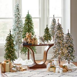pre lit flocked alpine tree set of three