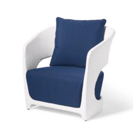 Angela Club Chair in White with Neptune Cushion