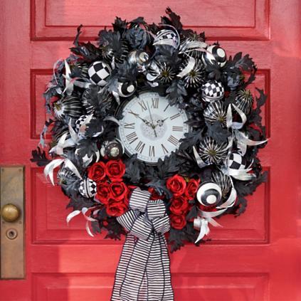 tick tock halloween wreath