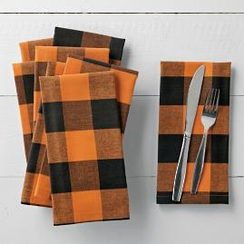 Orange Buffalo Check Napkins, Set of Four