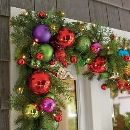 Christmas Lighted Garlands.Christmas Wreaths Garland Christmas Greenery Grandin Road