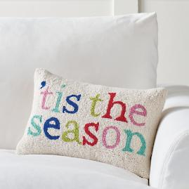 Merry and Bright Tis Season Hook Pillow