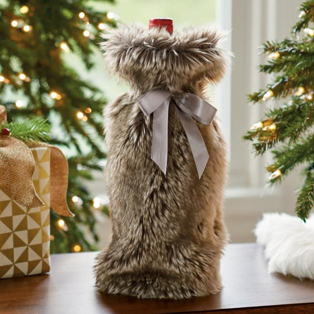Faux Fur Wine Bag   Grandin Road e0b9161c5f