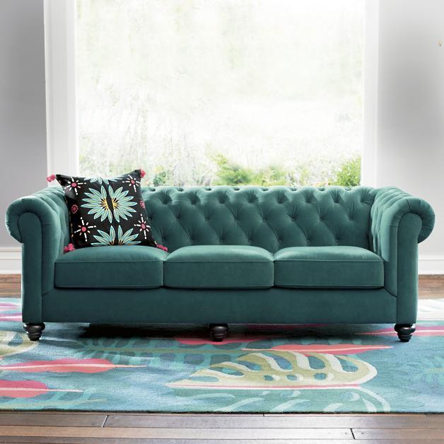 Iris Apfel Tufted Velvet Sofa