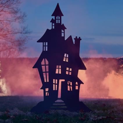 halloween haunted house and spooky tree silhouettes. Black Bedroom Furniture Sets. Home Design Ideas