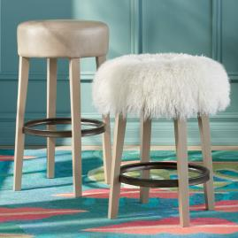 Iris Apfel Backless Stool with Mongolian Fur Cover