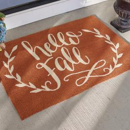 """Hello Fall"" Door Mat"