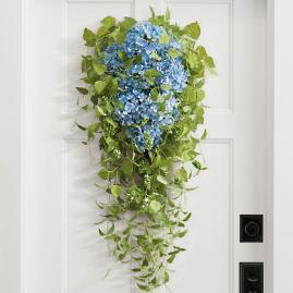 Haley Blue Hydrangea Door Swag