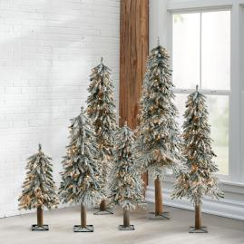 Pre-lit Flocked Alpine Tree