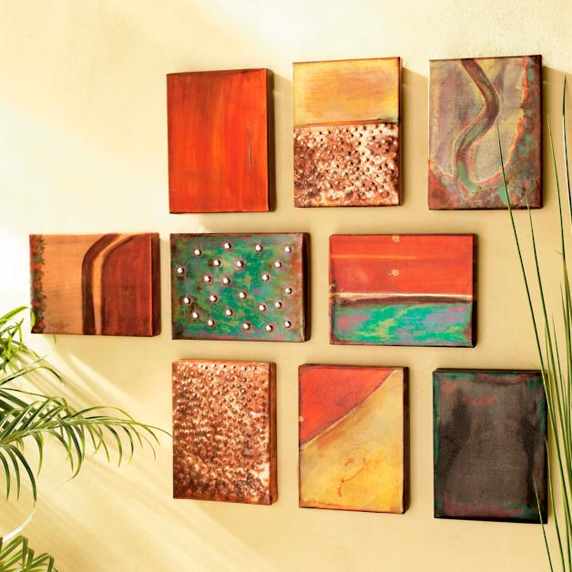 Set Of Nine Copper Wall Art Tiles Grandin Road
