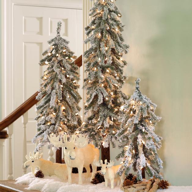 Martha Stewart Pre Lit Flocked Alpine Tree Grandin Road