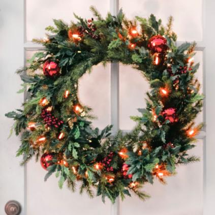 battery operated holly and berry christmas wreath grandin road. Black Bedroom Furniture Sets. Home Design Ideas