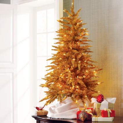 Martha Gold Tabletop Tinsel Artificial Christmas Tree