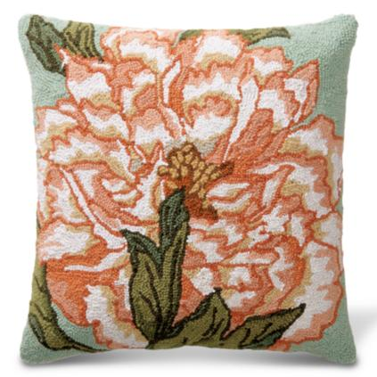 Carnation Hand Hooked Throw Pillow
