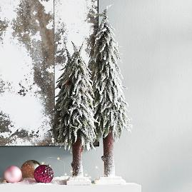 Lifelike Snowy Trees, Set of Two