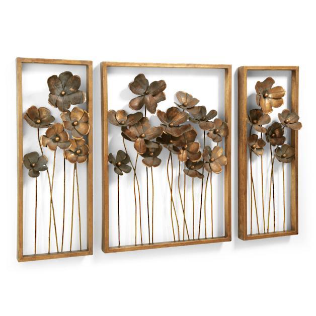 Three Piece Metal Flowers Art
