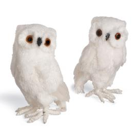 "10"" Large Snowy Owls, Set of Two"