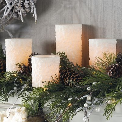 Snowy Battery Operated Flameless Candles Grandin Road
