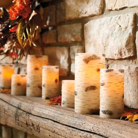 Faux Birch Battery Operated Candles