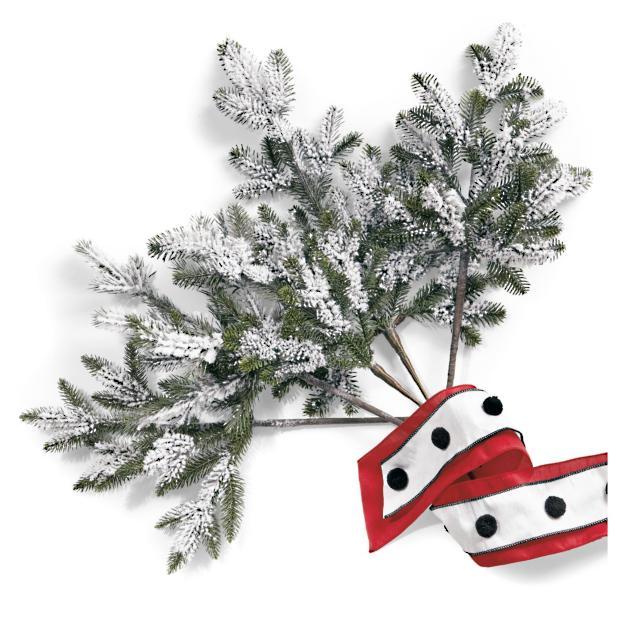 Set Of Five Flocked Christmas Tree Picks