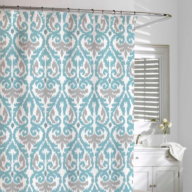 Scrolled Ikat Shower Curtain