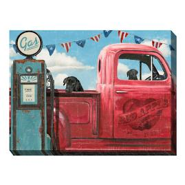 Canvas Wall Art Truck with Black Labs