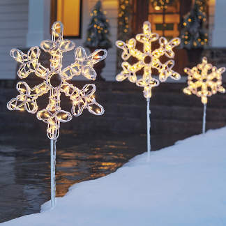 pre lit snowflake pathway marker set of three