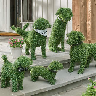 Faux Boxwood Garden Dogs