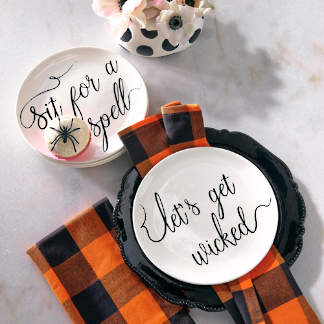 witchy word plates napkins