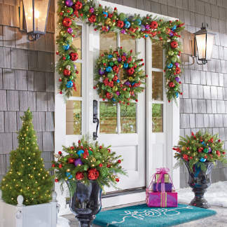merry and bright cordless greenery collection - Outdoor Lighted Christmas Decorations