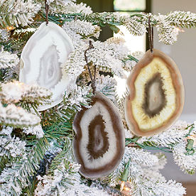 glass geode ornaments set of three