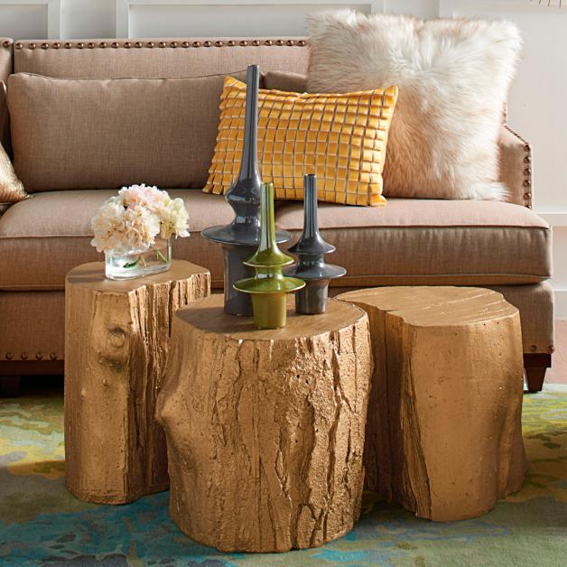 Gold Tree Stump Tables By David Bromstad Grandin Road