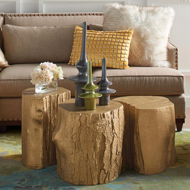 gold tree stump tables  david bromstad grandin road