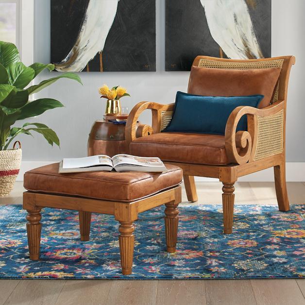 Bermuda Teak Chair Ottoman Grandin Road